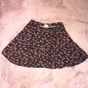 PacSun Pink and Black Floral Skater Skirt